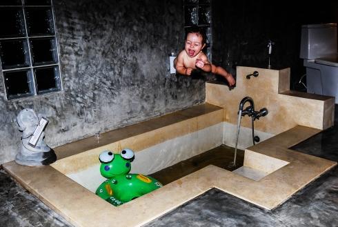 Baby jump to bath